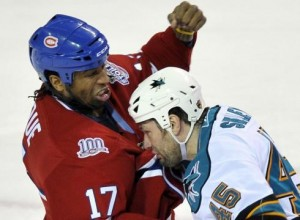 Georges Laraque claims to be an animal lover. But see if he gets PETA's endorsement once they find out he used to beat up sharks, ducks, and penguins.