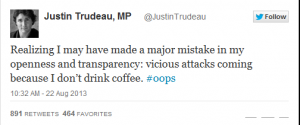 trudeau coffee tweet
