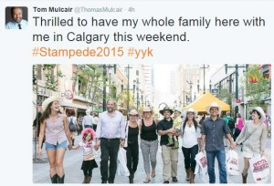 Props to Tom Mulcair for bringing the entire family, even if he got the Calgary hashtag wrong.